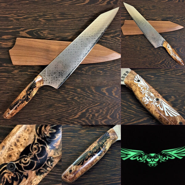 Dueling Spirits - Gyuto K-tip 10in Chef's Knife - Scale Damascus