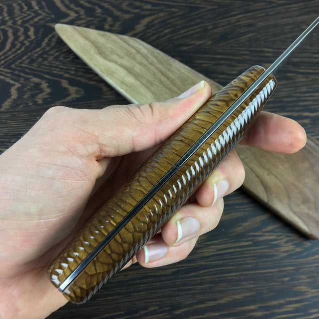 Brown Trout - Gyuto K-tip 10in Chef's Knife - Herringbone Damascus
