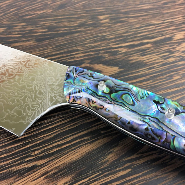 Son Of A Pearl - Gyuto K-tip 10in Chef's Knife - Mother of Pearl Damascus - Paua Abalone Handle