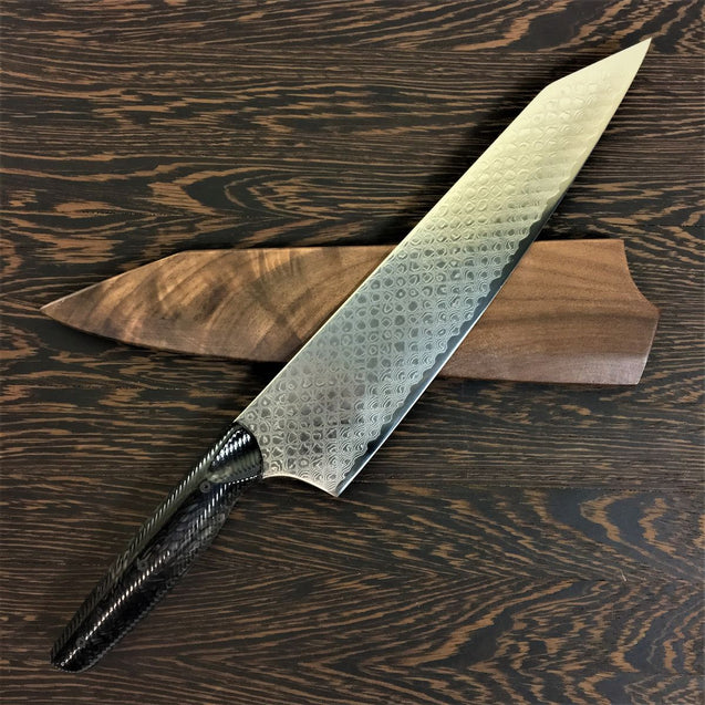Black Dragon - Gyuto K-tip 10in Chef's Knife - Dragonscale Damascus - Wavy Texture Black Dragonscale Handle