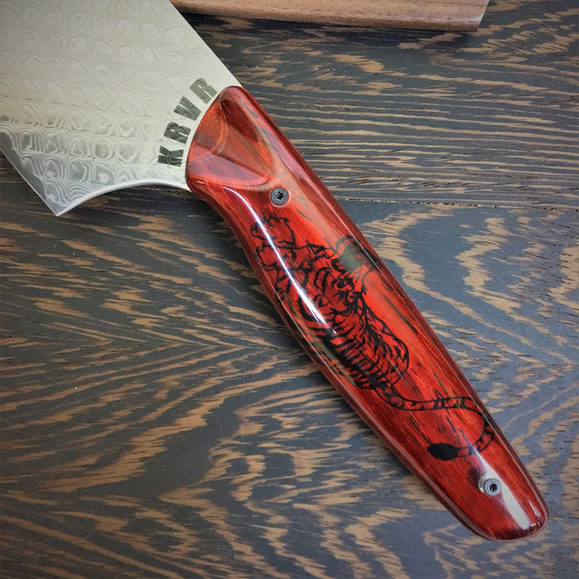 Crouching Tiger Hidden Dragon - Gyuto K-tip 10in Chef's Knife - Japanese Tiger Handle - Dragonscale Damascus