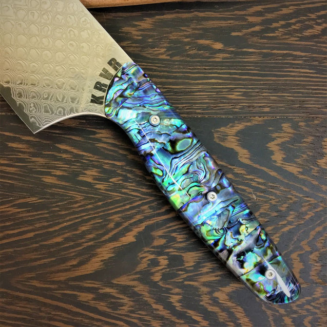 Son of a Pearl III - Gyuto K-tip 10in Chef's Knife - Paua Abalone Handle - Fishscale Damascus Blade