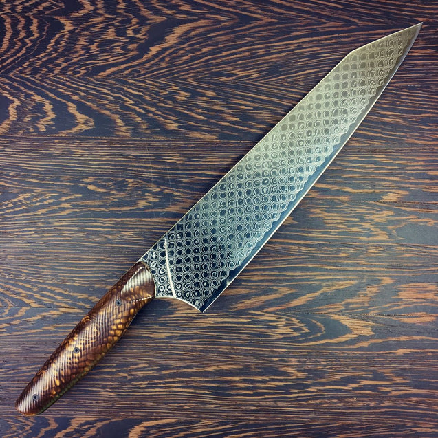 Bronze Dragon II - Gyuto K-tip 10in Chef's Knife - Dragonscale Damascus - SOLD