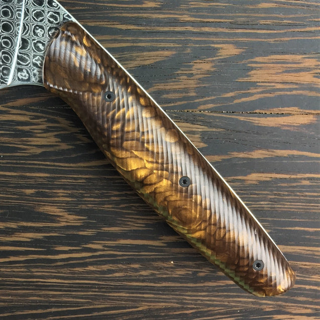 Bronze Dragon III - Gyuto K-tip 10in Chef's Knife - Dragonscale Damascus