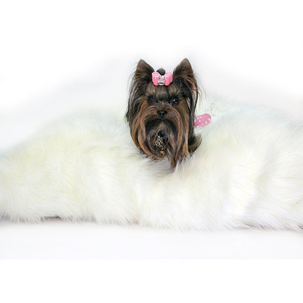 Plush Arctic Dog Mat in White | Pawlicious & Company