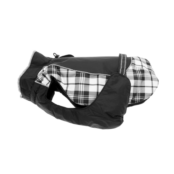 Alpine All-Weather Dog Coat - Black & White Plaid | Pawlicious & Company