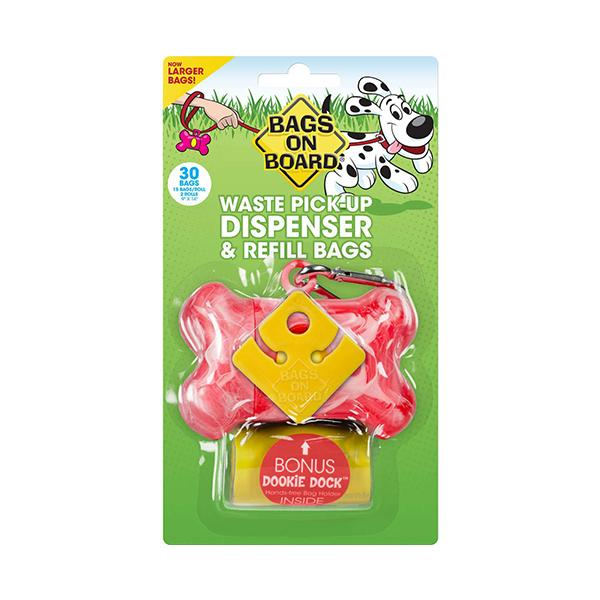 Bags on Board Bag Dispenser in Pink 30 Count | Pawlicious & Company