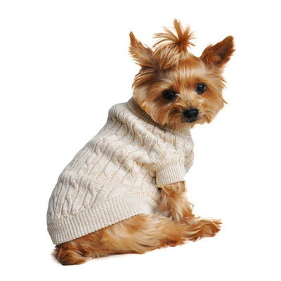 Beige Cable Knit Dog Sweater | Pawlicious & Company