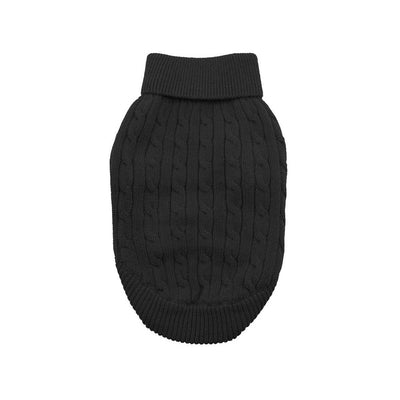 Black Cable Knit Dog Sweater | Pawlicious & Company