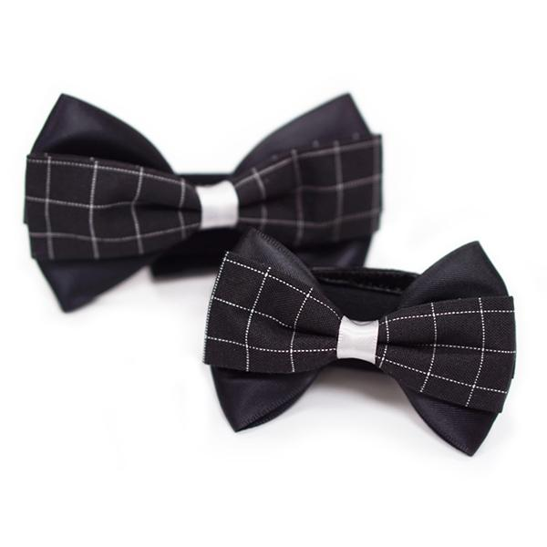 Black Plaid Formal Dog Collar Bow Tie | Pawlicious & Company