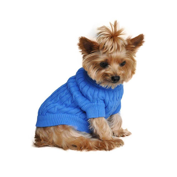 Blue Cable Knit Dog Sweater | Pawlicious & Company