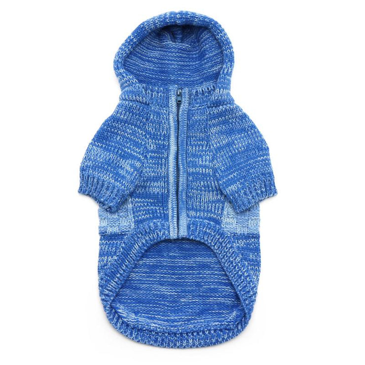 Blue Knit Hoodie Sweater Coat | Pawlicious & Company