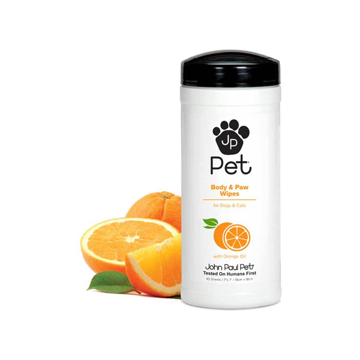 John Paul Pet Body & Paw Wipes with Orange Oil | Pawlicious & Company