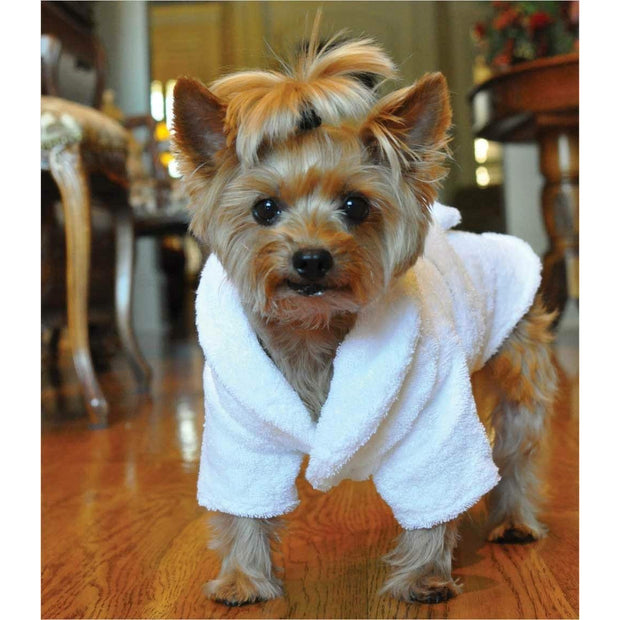 Boys Gold Crown Cotton Dog Bathrobe | Pawlicious & Company