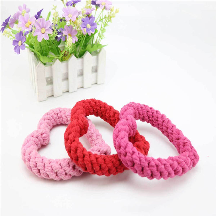 Bright Pink Heart Rope Dog Toy | Pawlicious & Company