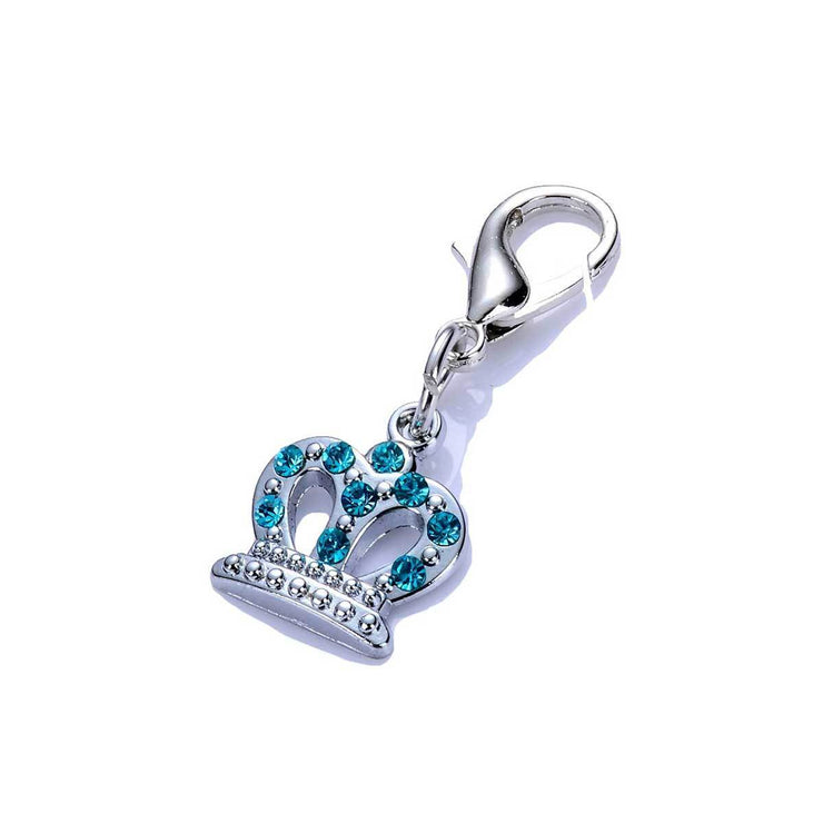 Crystal Crown Dog Collar Charm in Blue | Pawlicious & Company