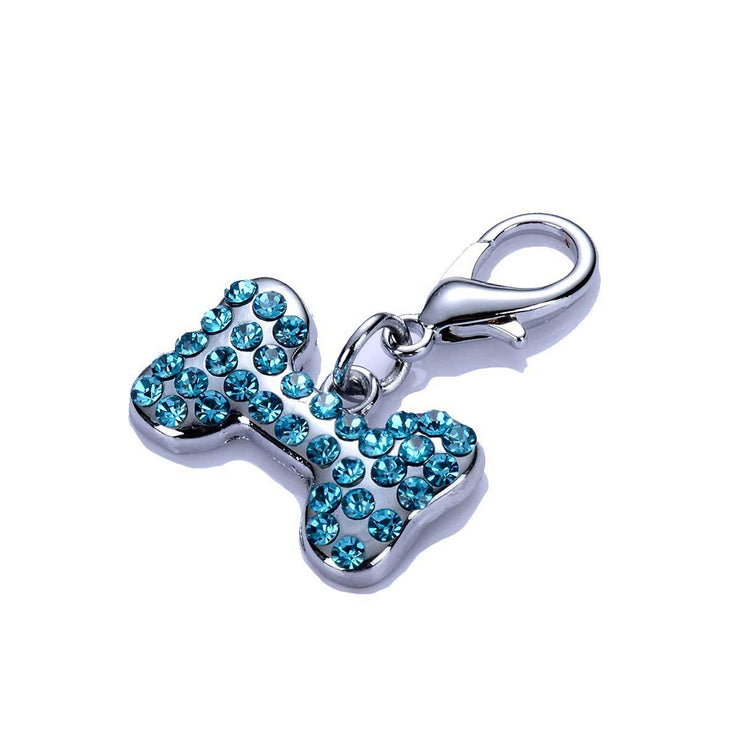 Crystal Dog Bone Collar Charm in Blue | Pawlicious & Company