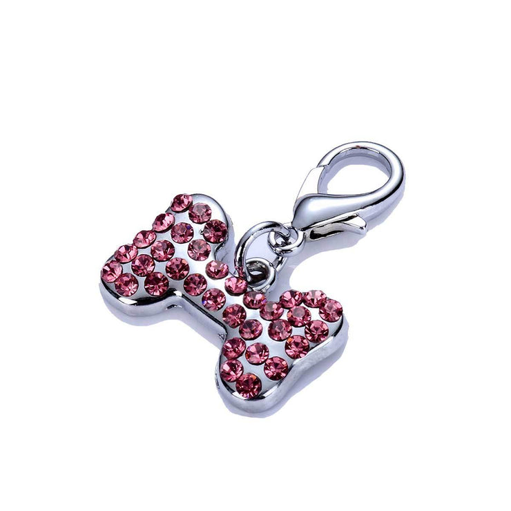 Crystal Dog Bone Collar Charm in Pink | Pawlicious & Company