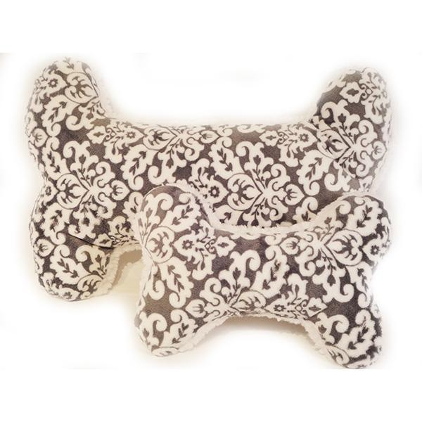 Cuddle Dog Pillow in Damask Gray Print | Pawlicious & Company