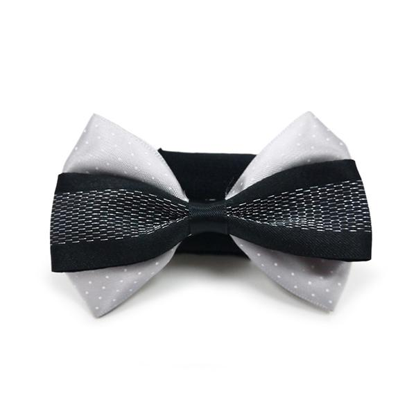 Gray and White Dog Collar Bow Tie | Pawlicious & Company