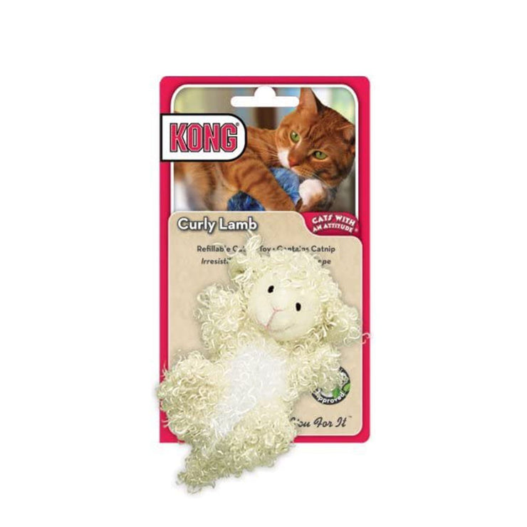 Kong Refillable Catnip Toy - Curly Lamb | Pawlicious & Company