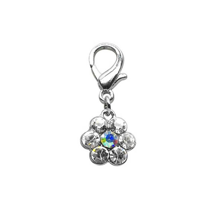 Lobster Claw Flower Charm with Clear Cystals | Pawlicious & Company