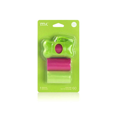 Modern Kanine Dispenser and Waste Bags - Green & Pink
