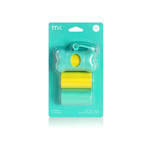 Modern Kanine Dispenser and Waste Bags - Turquoise & Yellow