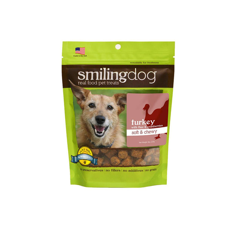 Herbsmith Smiling Dog Soft & Chewy Treats - Turkey with Flax & Cranberries | Pawlicious & Company