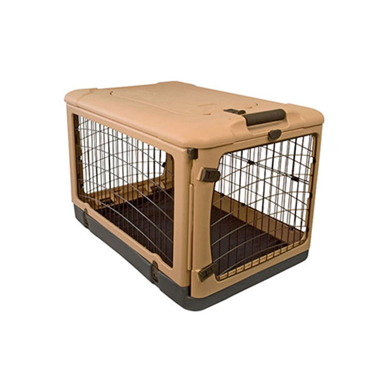 Steel Dog Crate in Tan with Fleece Pad - Large | Pawlicious & Company