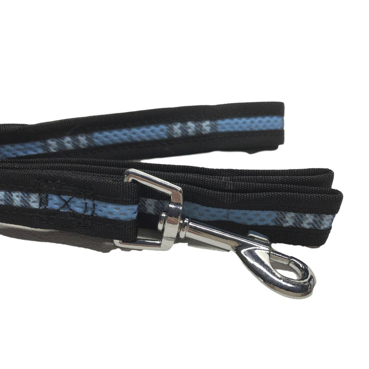 Mesh 3/4 Inch Dog Leash in Blue Plaid | Pawlicious & Company