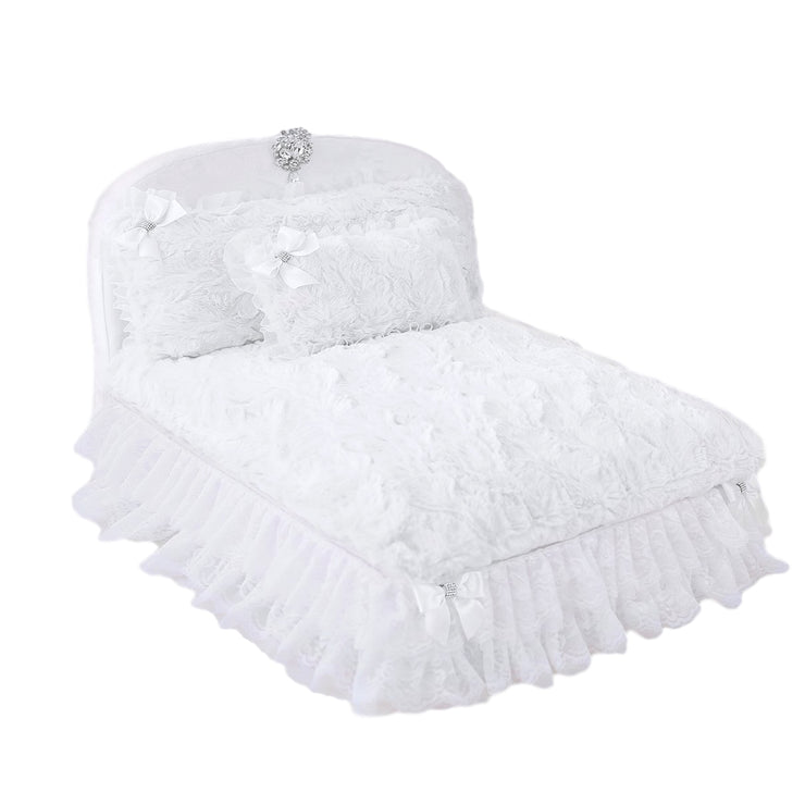 The Enchanted Nights Dog Bed with White Headboard | Pawlicious & Company