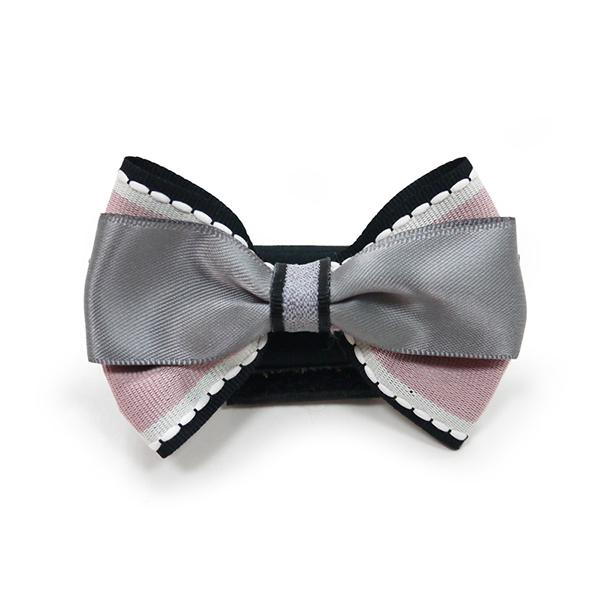 Pink and Gray Chic Dog Collar Bow | Pawlicious & Company