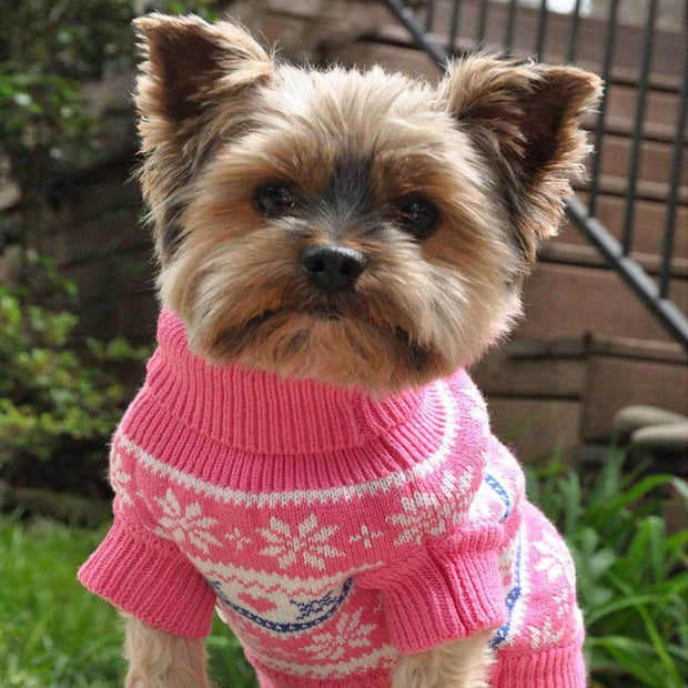 Pink Snowflake and Hearts Dog Sweater