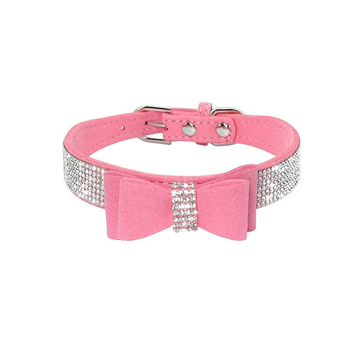 Pink Suede Dog Collar with Bow and Bling | Pawlicious & Company