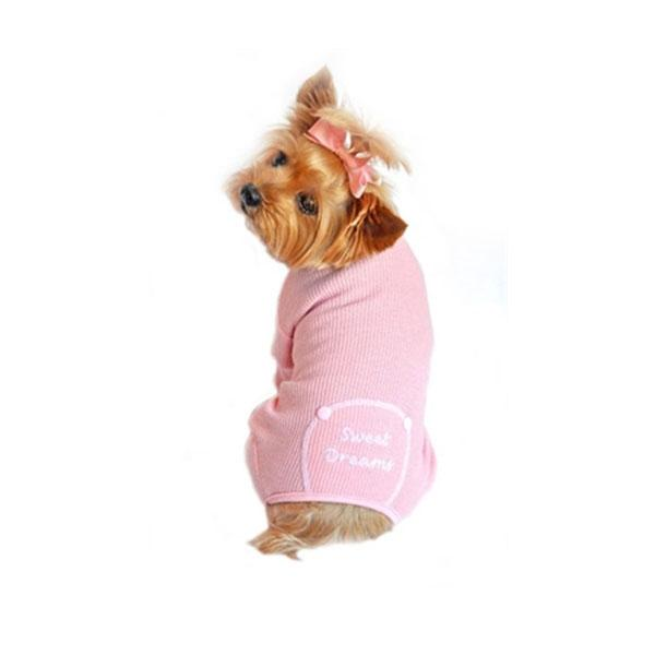"Pink ""Sweet Dreams"" Embroidered Dog Pajama 