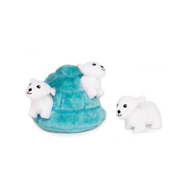 Polar Bear Igloo Burrow Puzzle Dog Toy