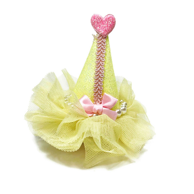 Pretty Party Hat Clip-On in Yellow | Pawlicious & Company