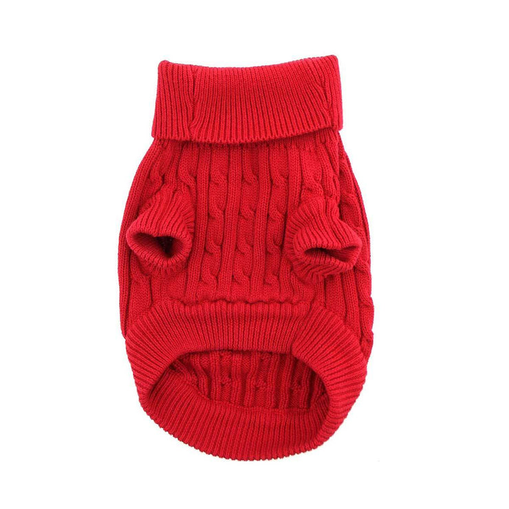 Cable Knit Dog Sweater in Red | Pawlicious & Company