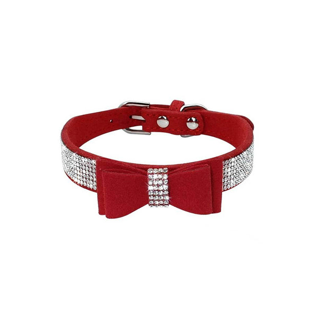 Red Suede Dog Collar with Bow and Bling