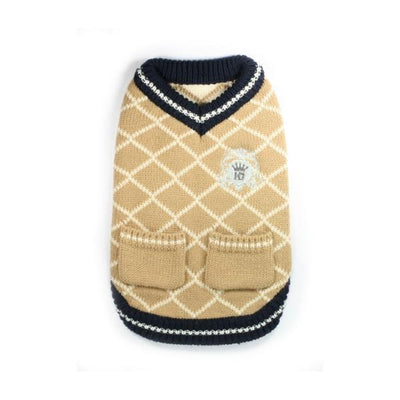 Royal Crest Sweater Vest - Tan