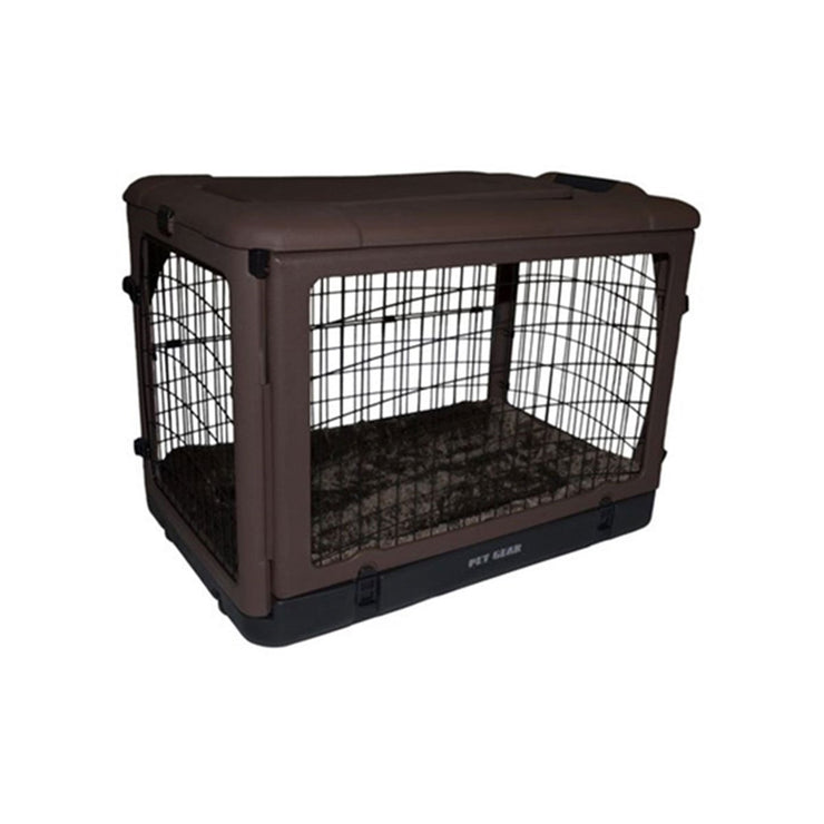 Steel Dog Crate in Brown with Bolster Pad - Large | Pawlicious & Company