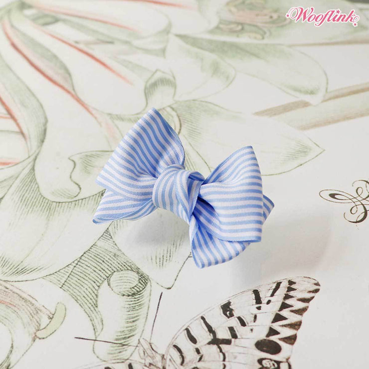 Stripe Dolly Dog Hair Bow in Blue | Pawlicious & Company