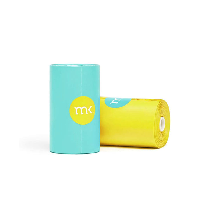 Waste Bags Refills 6 Rolls in Turquoise & Yellow | Pawlicious & Company
