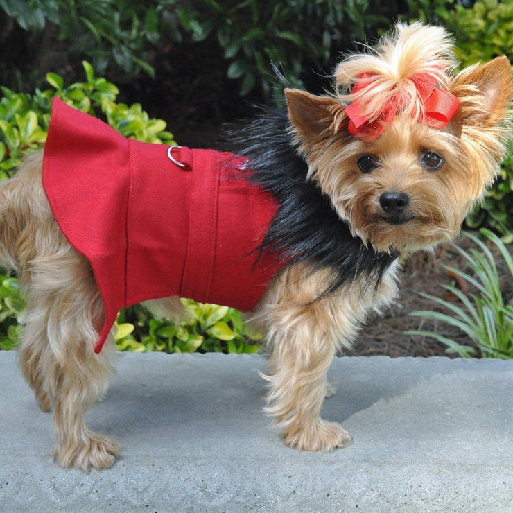 Wool Dog Coat Fur Trimmed in Red | Pawlicious & Company