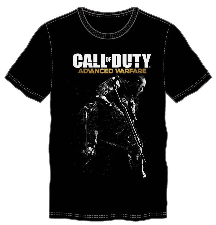 First-Person Shooter Call of Duty Advanced Warfare Logo & Gunman Black Men's T-Shirt - Dood Gear