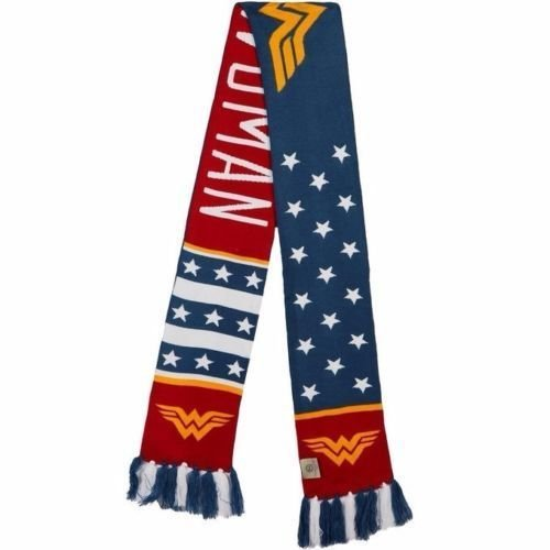 Wonder Woman Knitted Winter Jacquard Scarf Long D C Comics Stars Red White Blue