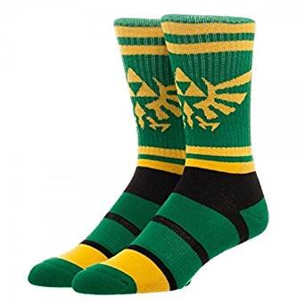 Nintendo Legend of Zelda Triforce Graphic Stripe Crew Socks