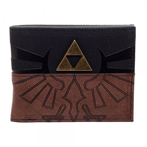 Legend Of Zelda Triforce Metal Logo Mix Material Bi-Fold Wallet