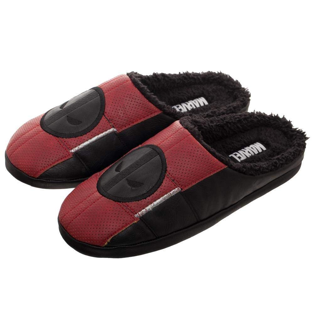 Licensed Marvel Deadpool Suit Up Faux Leather Soft Scuff Adult Slippers LG-XL
